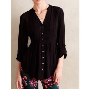 Anthropologie Maeve Black Composed Pintuck Blouse